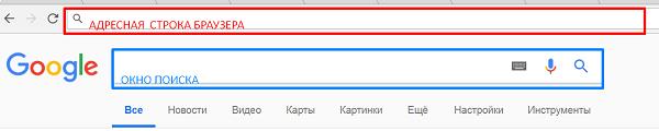 Адресная строка браузера и окно поиска